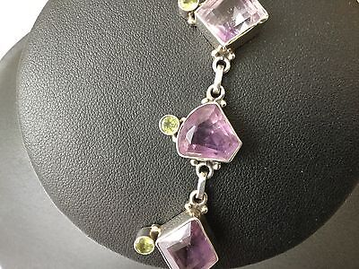 solid silver 925 amethyst and peridot handmade toggle bracelet 26 grams