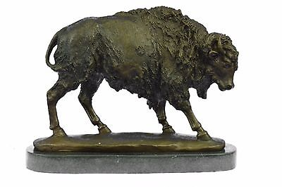 American Buffalo Bison Western Decor Bronze Marble Base Statue Sculpture Artwork