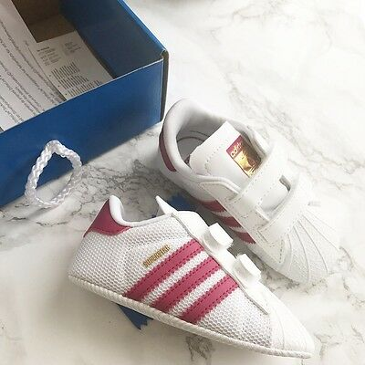 Adidas Originals Girls Pink Crib Shoes Trainers White/Pink Size 4