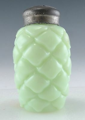 Opaque Green Glass Salt Shaker Cone Pattern Consolidated