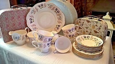 Vintage Queen Anne China 21 Piece Tea Set - Mixed Flowers - Pattern No 8353