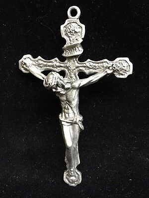 """(E36) Pewter Cross, With Jesus Christ,  5"""" Wall Mounting"""