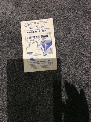 Halifax Town v Norwich City 9th January 1960 football programme