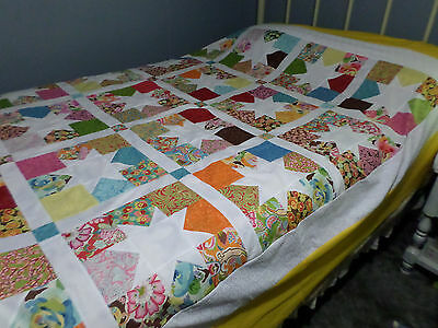 "Charming Star  Unfinished Quilt Top  88"" X 102"" Made With Chez Moi By Moda"