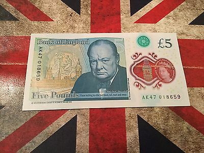 AK47 Bank Of England £5.00 Five Pound Polymer Note, Very Rare 01 Number