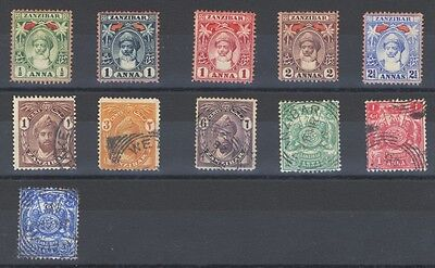Zanzibar 1899-1927 Selection 11 Stamps Mint and Used .