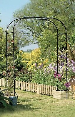 New Gardman Black Extra Wide Garden Arch - Metal Garden Arch way