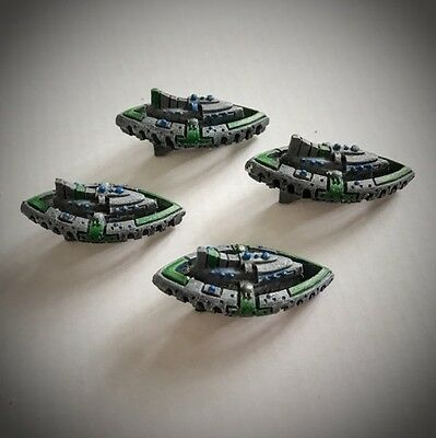 Battlefleet Gothic Tau painted Nicassar Dhow Class starships ( x 4)