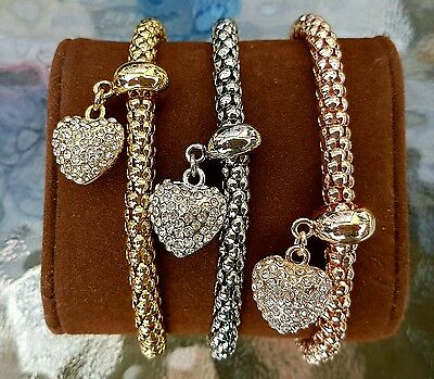 New!Buckley london mesh heart set of 3 bracelet,rose/yellow gold & silver,QVC