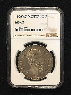 1866 MO Mexico Silver Peso NGC MS62 Empire Of Maximilian Rare Mexican Silver
