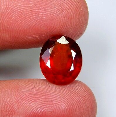 03 Ct Natural Red Hessonite Garnet Oval Cut Cabochon Ring Size Top Gemstone A186