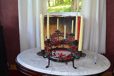 Vintage Red Berry Christmas Wreath Candle Holder