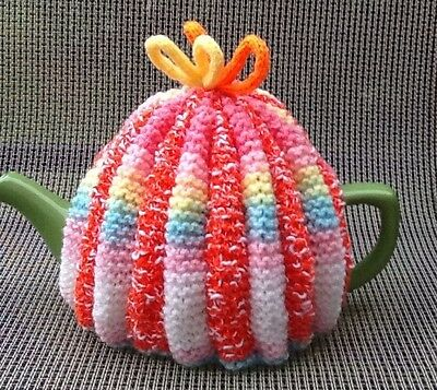 Hand Knitted Multicoloured Tea Cosy, 4-6 Cup Size