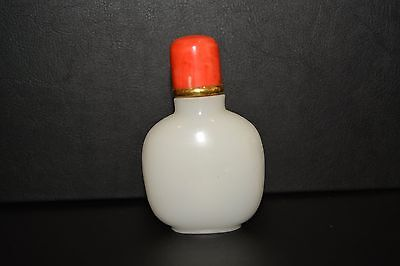 Antique White Jade Snuff Bottle with Red Coral Top and gold ring