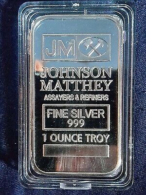 Sterling Silver PLATED 1OZ bullion bar - JOHNSON MATTHEY  - Fine Silver  .999