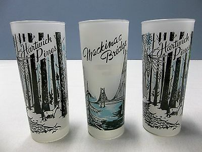 Lot Of (3) Vintage Frosted Michigan Souvenir Glasses