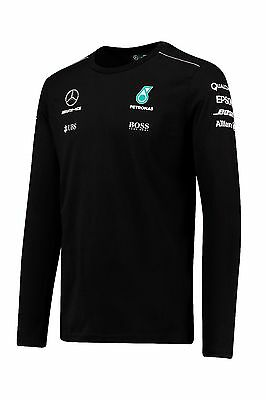 2017 OFFICIAL F1 Mercedes AMG Mens Team Long Sleeve T-shirt Top BLACK – NEW