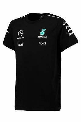2017 OFFICIAL F1 Mercedes AMG Petronas KIDS Childrens Team T-shirt BLACK – NEW
