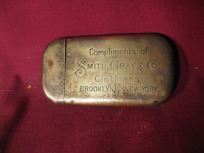 Antique Brass Advertising Match Safe Smith, Gray & Co Clothiers Brooklyn NY