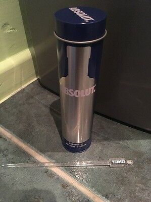 Rare Absolut Vodka Ltd Miniature 50ml Tin With Stir- Empty
