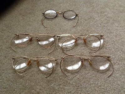 Lot Of 5 Gold Wire Rimmed Glasses Vintage 12 K G F Kgf 12K