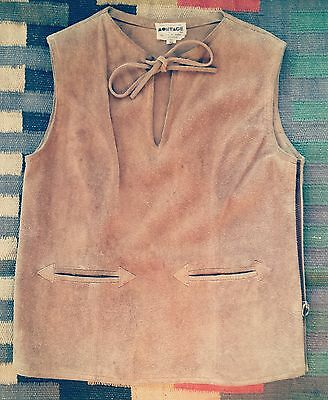 Vintage 60s Hippie Suede Leather Brown Tan Vest Sleeveless Shirt Jacket Pioneer