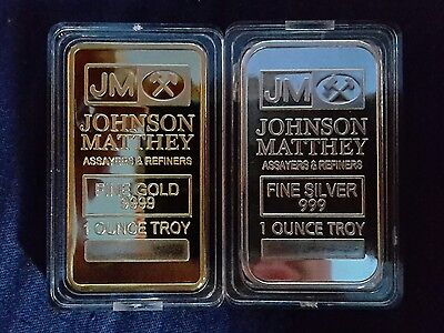 1 OZ precious metal plated Bullion Bar! GOLD & SILVER -JOHNSON MATTHEY .999 bars