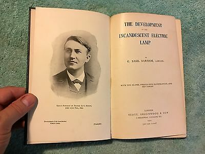 Book DEVELOPMENT OF THE INCANDESCENT ELECTRIC LAMP G. Basil Barham Edison RARE