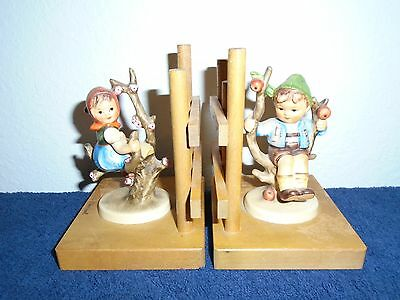 "Hummel Goebel Bookends Apple Tree Boy And Girl Figurines 5"" Tall"