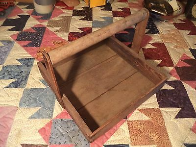 Nice Old Antique Primitive Wood Berry Fruit Wooden Picking Tray Crate Box