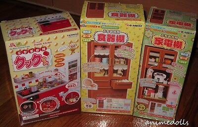 Re-ment Miniature Red Kitchen Brown Large & Small Appliance Cabinet Set NEW