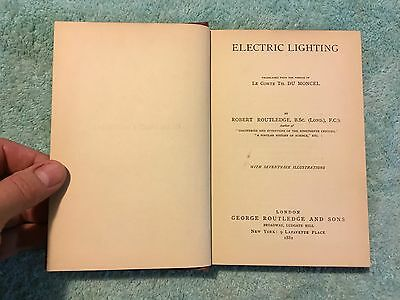 ANTIQUE BOOK 1882 ELECTRIC LIGHTING LE COMTE TH. DU MONCEL R. ROUTLEDGE  Edison