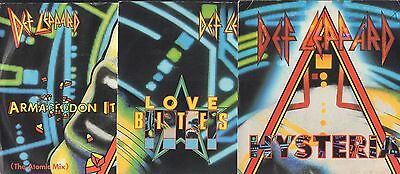 "DEF LEPPARD 3 x 7"" ALL PIC SLEEVES Love Bites HYSTERIA Armageddon It Atomic Mix"