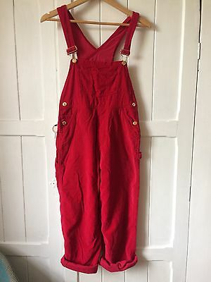 Amazing Cherry Red Velvet Dungarees Petite M Festival Retro Urban Outfitters Vnt