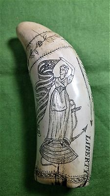 """Vintage Scrimshaw Replica Sperm Whale Tooth """"The Whaler Eagle and Lady Liberty"""""""