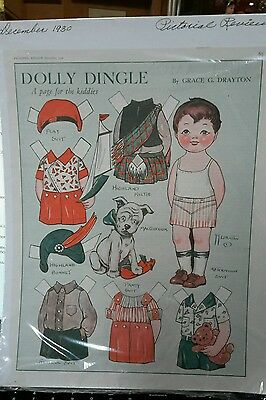Dolly dingle Paper Doll Page Pictorial Review December 1930