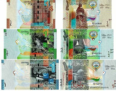 Kuwait 3 Notes 2014 Uncirculated 1/4 ,1/2 & 1 Dinar