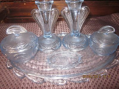 BAGLEY 1930s ART DECO BLUE  GLASS 'RUTLAND' VANITY SET & CANDLE STICKS