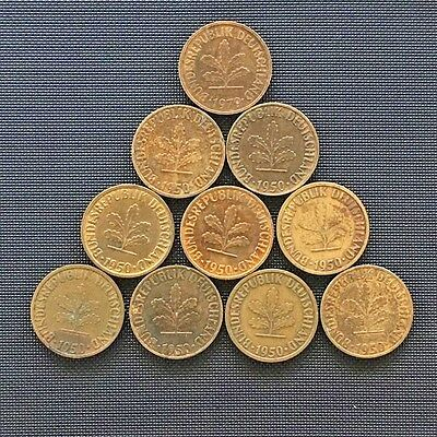Germany 5 Pfennig Total Of 10 Coins Various ** LOT#20