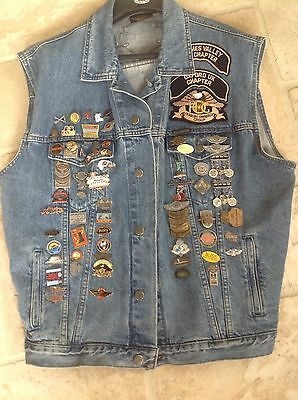 Harley-Davidson HD Pins And Patch Vest Size 2XL 68 Pins 11 Patches