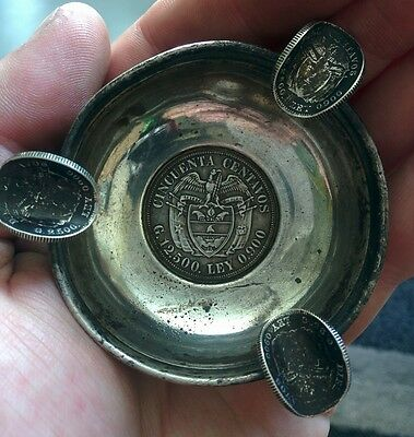 Silver Plated Ashtray with 90% Silver Colombian coins