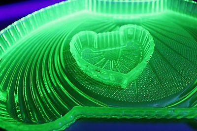 Uranium glass dressing table tray and trinket tray.