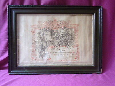 WW1 HONOURABLE DISCHARGE CERTIFICATE - 14TH HUSSARS Sgt WILLIAM G BYE - IN FRAME