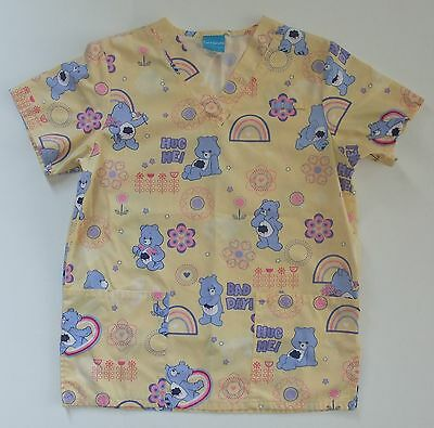 Care Bears Grumpy Bear Scrub Top Size Small V Neck With Pockets Pale Yellow