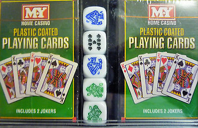 Home Casino Pack 2 Decks of Playing Cards (inc Jokers) & 5 Poker Dice plus case