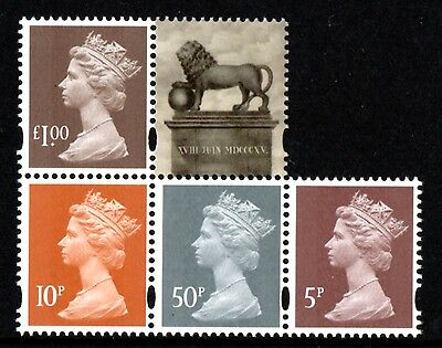 """GREAT BRITAIN M15L+MPIL 5p/10p/50p/£1 Stamps ex """"Battle of Waterloo"""" PSB UM/MNH"""