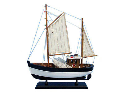 "Fishing Boat Outcast 14"" Built  Wooden  Model Ship Assembled"