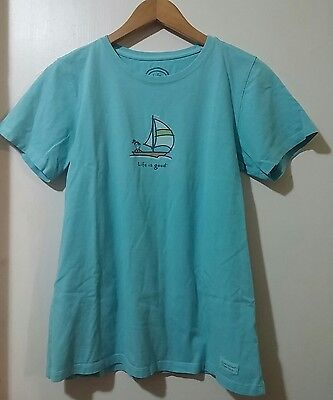 Life is Good Blue Classic Fit Graphic Tee T-Shirt Size M Medium Short Sleeve