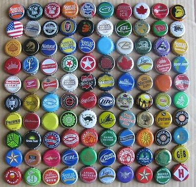 100 Different Mixed Very Colorful Worldwide Mostly Beer Bottle Some Soda Caps