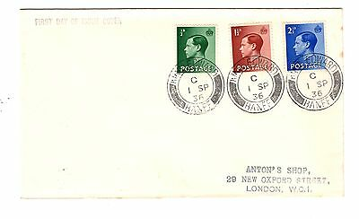 GB 1936 KEVIII 1/2d, 11/2d & 11/2d on FDC with KING EDWARD BANFF CDS